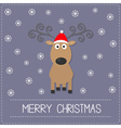 Cute cartoon deer with curly horns red hat vector image