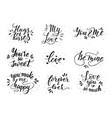 hand drawn romantic quote set handwritten with vector image