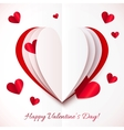 Red and white cutout paper heart vector image