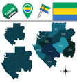 Gabon map with named divisions vector image