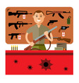 gun shop flat style colorful cartoon vector image