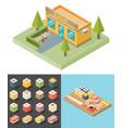 isometric sushi restaurant cafe building icon vector image