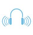 blue headphones sound music device technology vector image