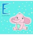 Alphabet letter E elephant children vector image