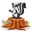 Cartoon skunk posing on tree stump vector image