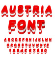 Austria font Austrian flag on letters National vector image