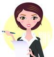 Beautiful Business woman with pen vector image
