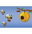 Bee with briefcase flies to work vector image