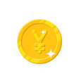 gold yuan coin cartoon style isolated vector image