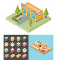 isometric sushi restaurant cafe building icon vector image