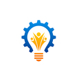 light bulb gear people abstract industry logo vector image
