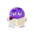 Funny Octopus Reding Newspaper Emoji vector image vector image