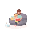 Father read a storybook to his daughter on a couch vector image