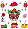 Element Chinese celebration doodles vector image
