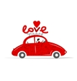 Love red car for your design vector image
