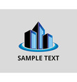 blue office building tower logo for company vector image