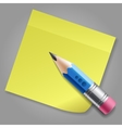 Blue pencil and yellow notepad page vector image