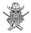 cowboy skull with two guns vector image