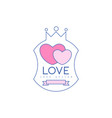 cute line logo design with pink hearts and crown vector image