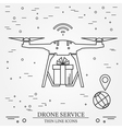 Drone service Drone delivery service Thin line ico vector image