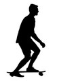 silhouettes skateboarder performs jumping on a vector image