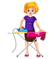 Woman ironing clothes on the ironing board vector image