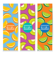 Set Of Three Juicy Fruit Parts Vertical Banners vector image vector image