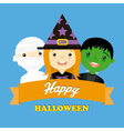 Halloween costume party with kids vector image vector image