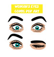 pop art cartoon comic surprise wink woman eyes vector image