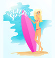detailed flat blonde girl vector image