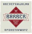 barber shop label font vector image