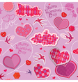 Valentines Day seamless pattern with hearts clouds vector image vector image