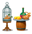 carrots in cage and wine bread and cheese vector image