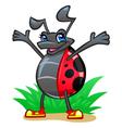 Cheerful ladybug vector image