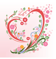 Flower in heart shape vector image