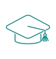 Graduation cap diploma web outline hat icon vector image