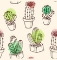 pattern with cactus in flowerpot vector image
