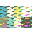 Set of Seamless patterns with Whales vector image
