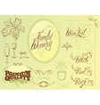 wine calligraphy 2colors 380 vector image