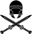 roman helmet and swords second variant vector image vector image