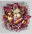 ice cream cartoon doodle watercolor vector image