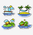 summer activity icons set in simply thin style vector image