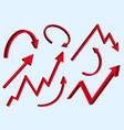3d red arrows set graph arrow symbols vector image