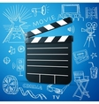 Black cinema clapper and hand draw icon vector image