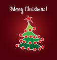 Christmas card simple flat tree vector image