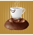 cup of coffee on coffee beans vector image