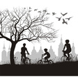 Family on bicycle trip out of town vector image
