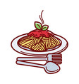 hot spaghetti with fresh tomato sauce on plate vector image