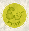 pear vintage paper vector image