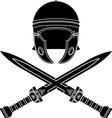 roman helmet and swords second variant vector image